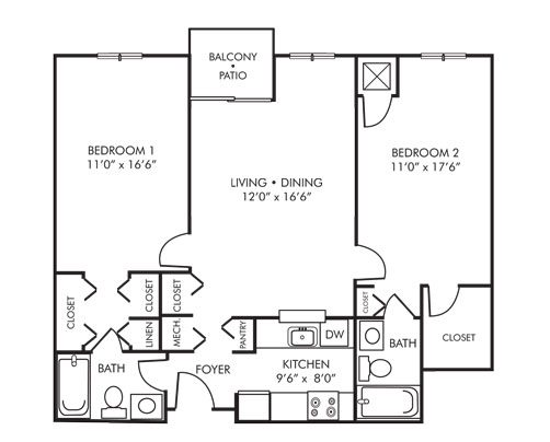 Two Bedroom Two Bath 800 sq ft